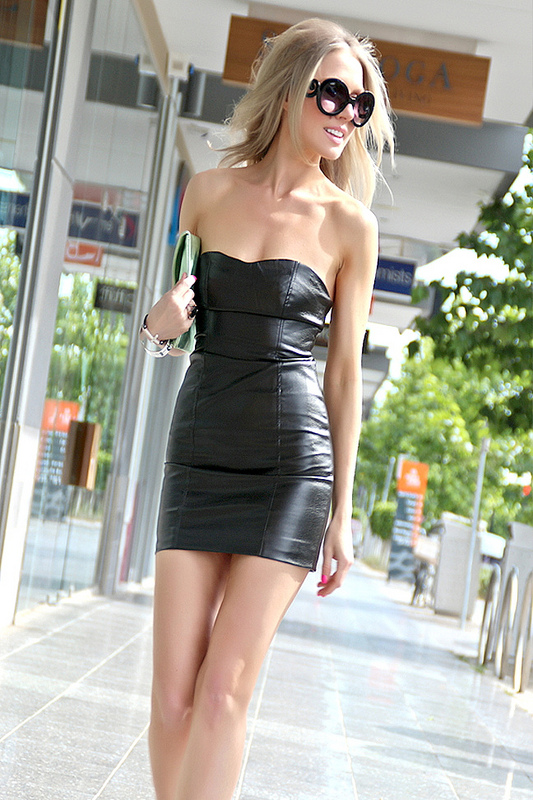 Sexy Blonde with Short Leather Dress Street Fashion