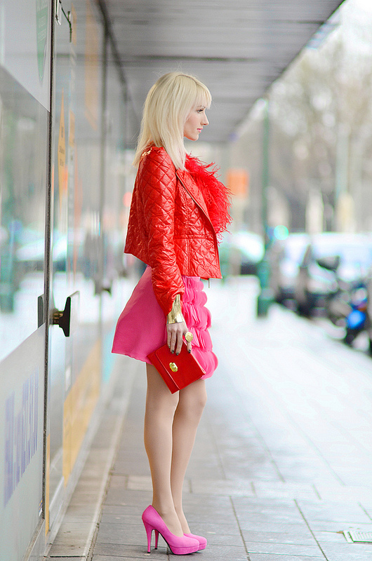 Red Top Pink Skirt