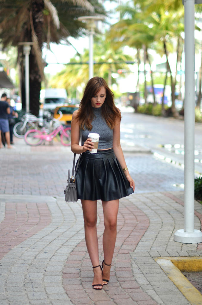 Accessories Matching Top With Black Leather Skirt