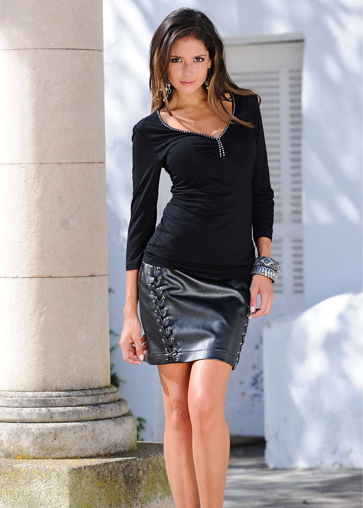 Black Full Sleeve Top with Black Miniskirt