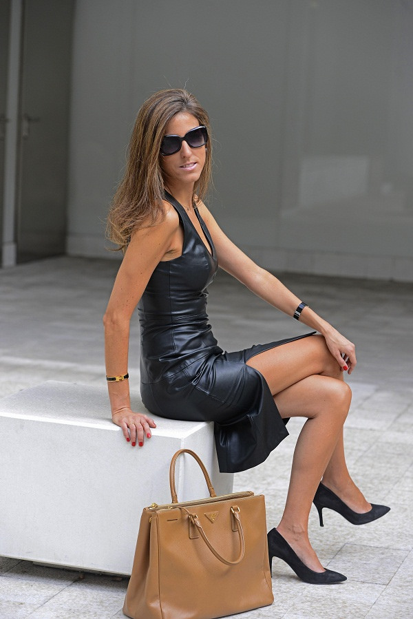 Black Leather Monochrome Outfit Sitting Down