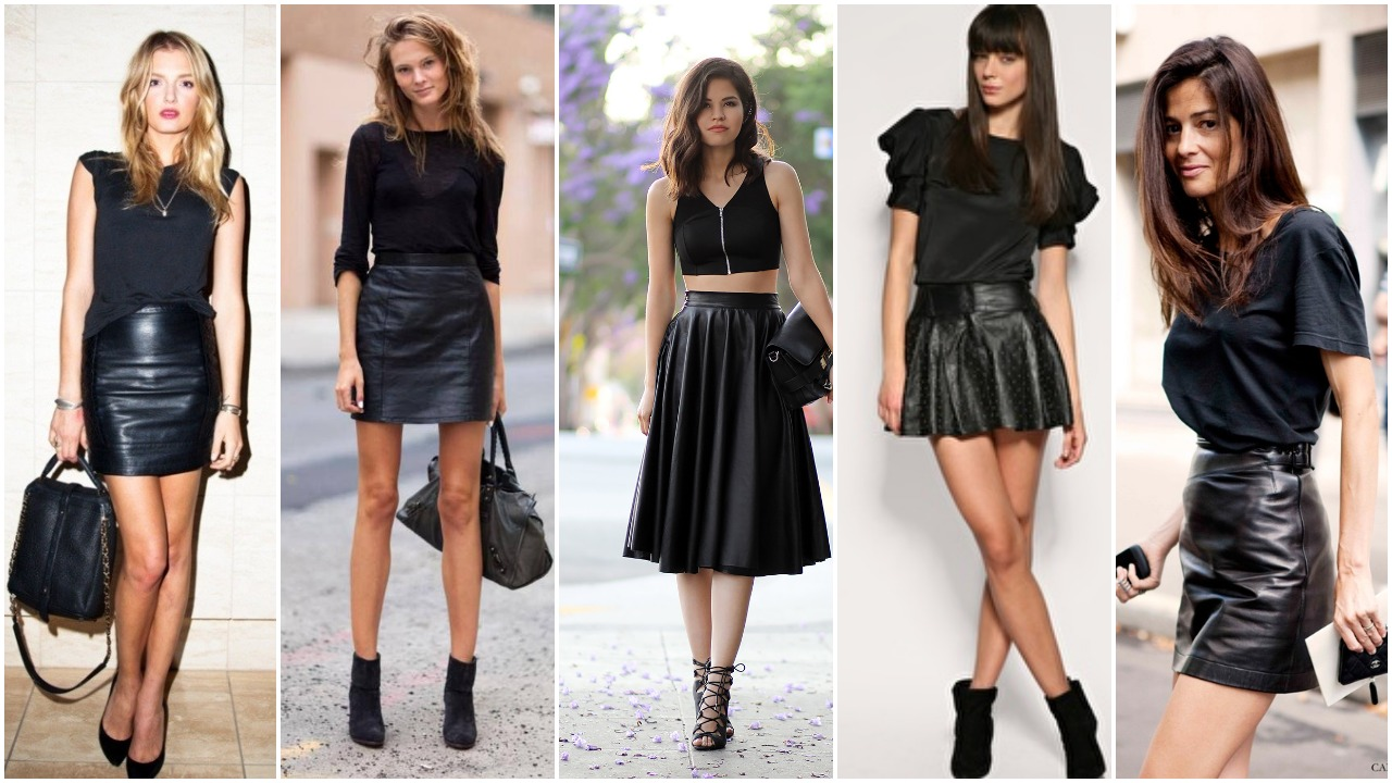 Black Leather Skirt Fashion Styles with Black Tops