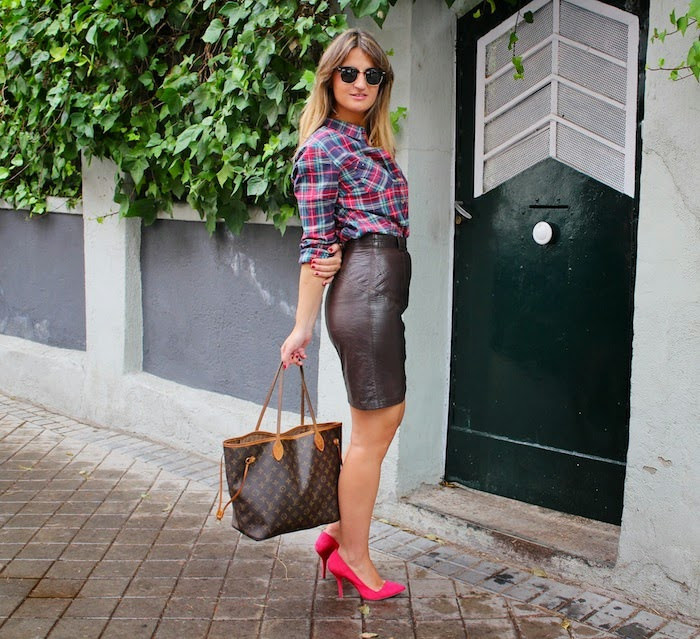 Black Leather Skirt with Pink Heels