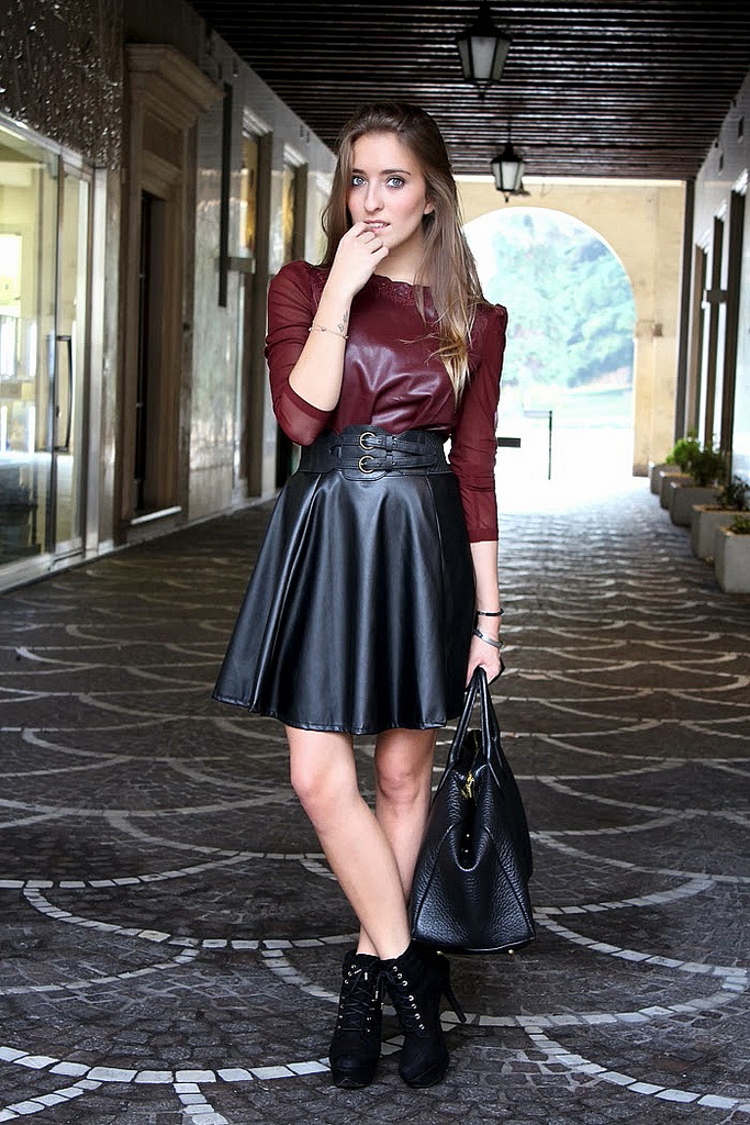 Black Leather Skirt with Red Leather Top
