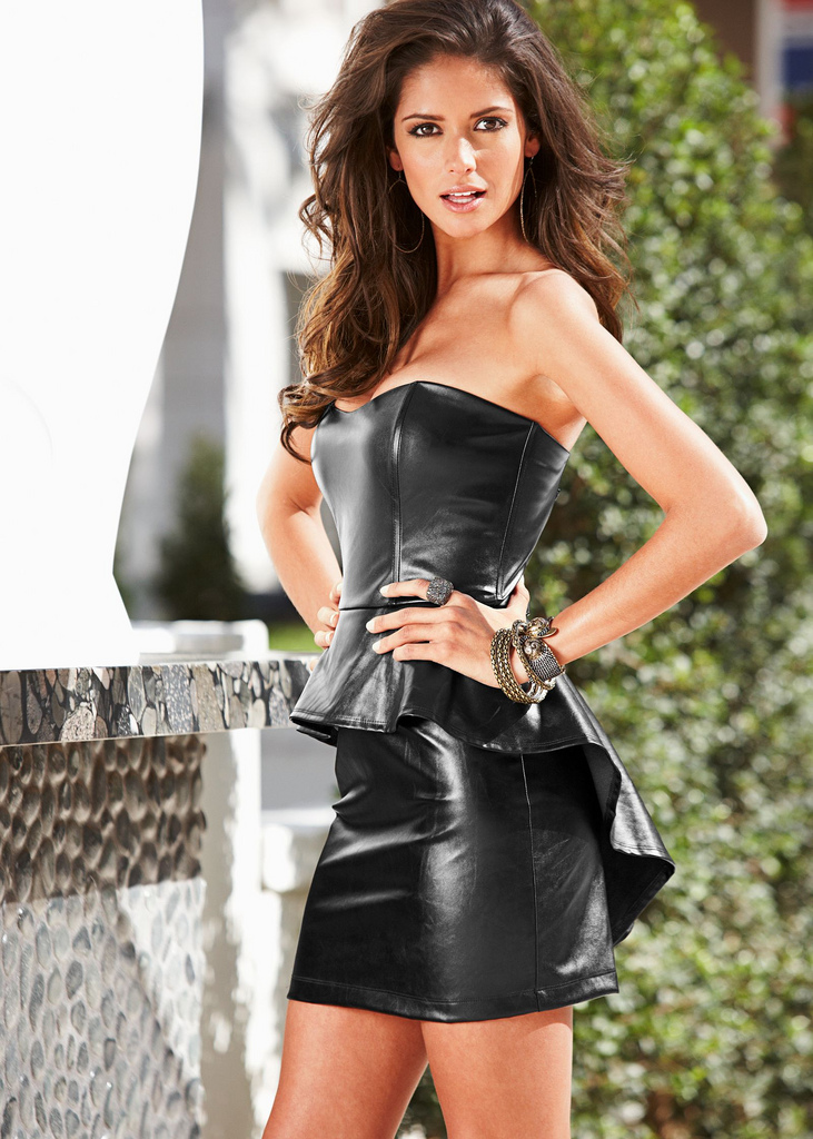 Black Leather Top with Black Leather Miniskirt