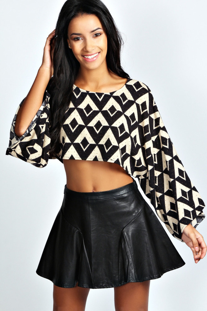 Creative Tops with Leather Skirts
