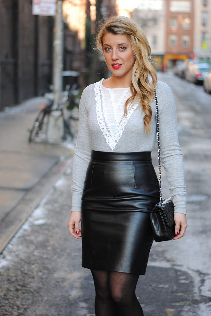 Elegant Black Skirt with White Top