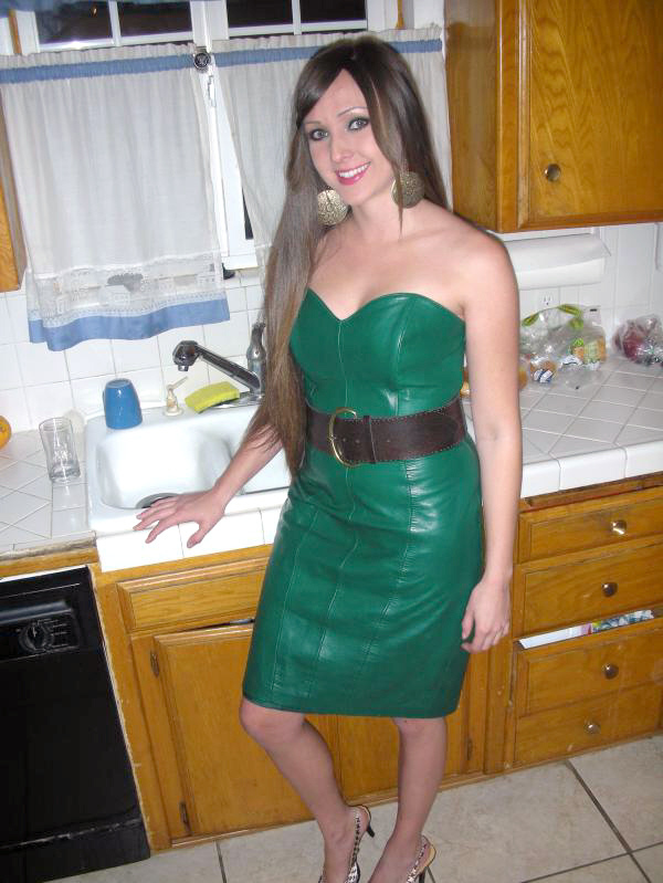 Green Leather Monochrome Dress