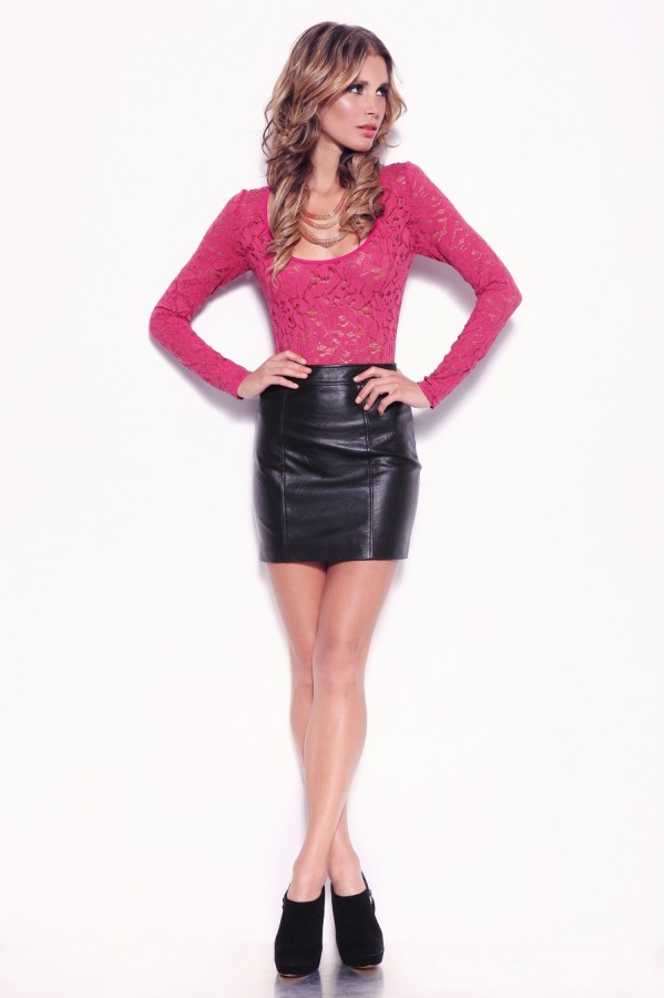 Hot Leather Skirt Black With Pink Top