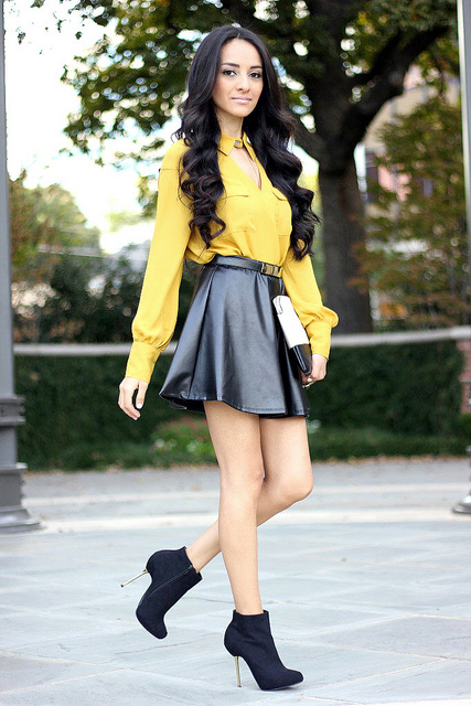 Leather Skirt Fashion Yellow Top