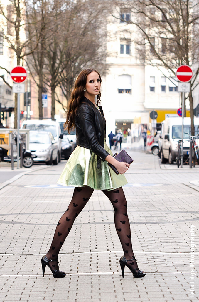 Leather skirt, Jacket and Leggings: A Winter Look