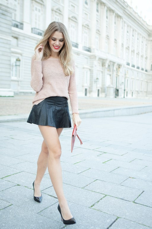 Black Leather Skirt with Sweater Top and Black Heels