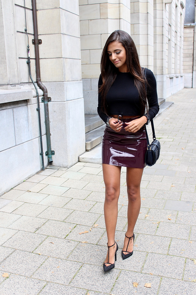 Leather Skirt with Accessories and Heels
