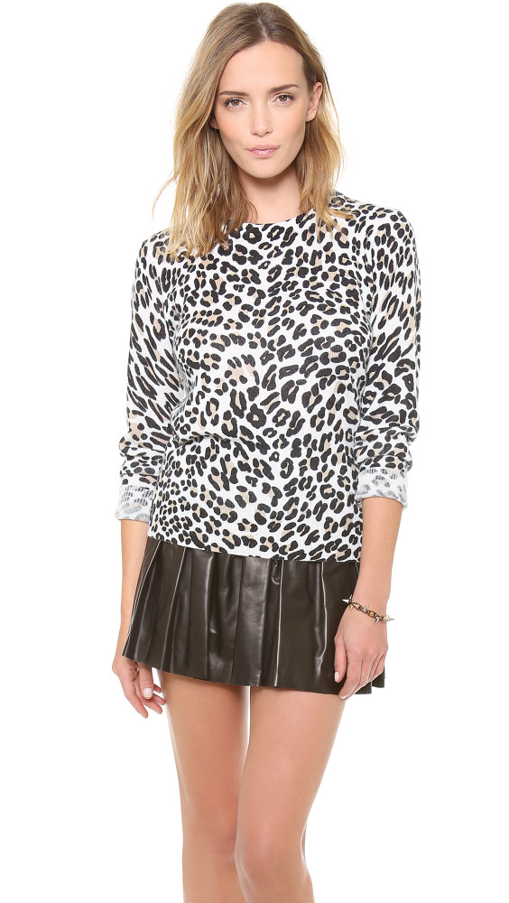 Leopard Pattern Top with Black Leather Skirt