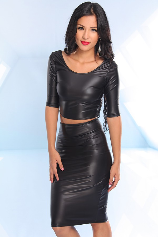 Long Black Leather Skirt and Black Leather Top