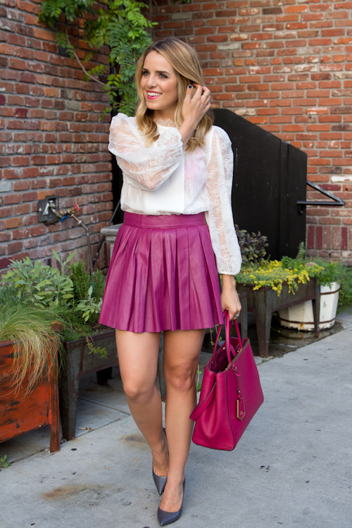 Pink Leather Skirt with White Top and Pink Handbag