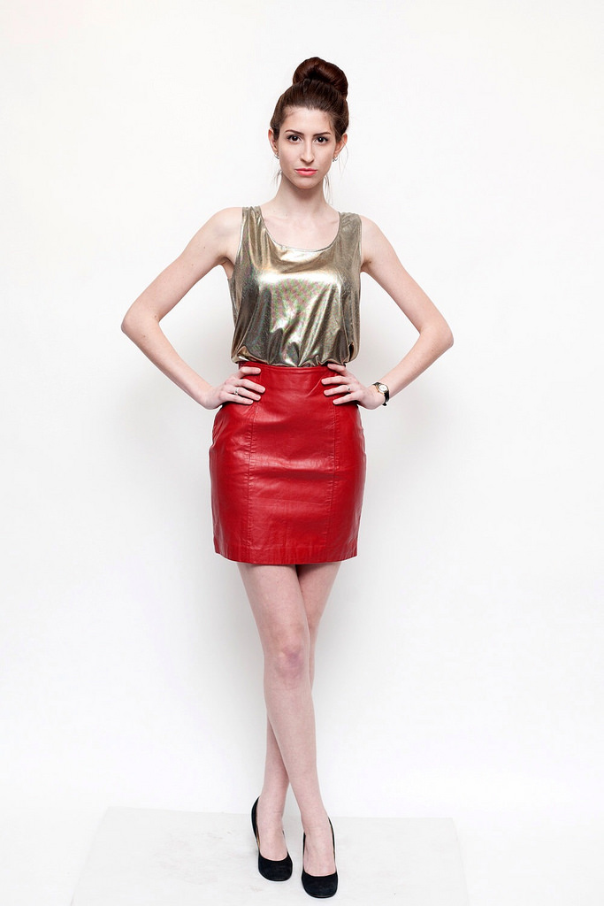 Red Leather Skirt with Golden Top