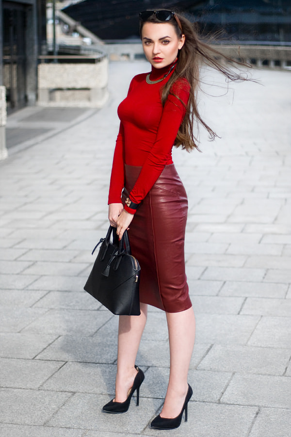 Red Leather Skirt with Red Top and Black Heels