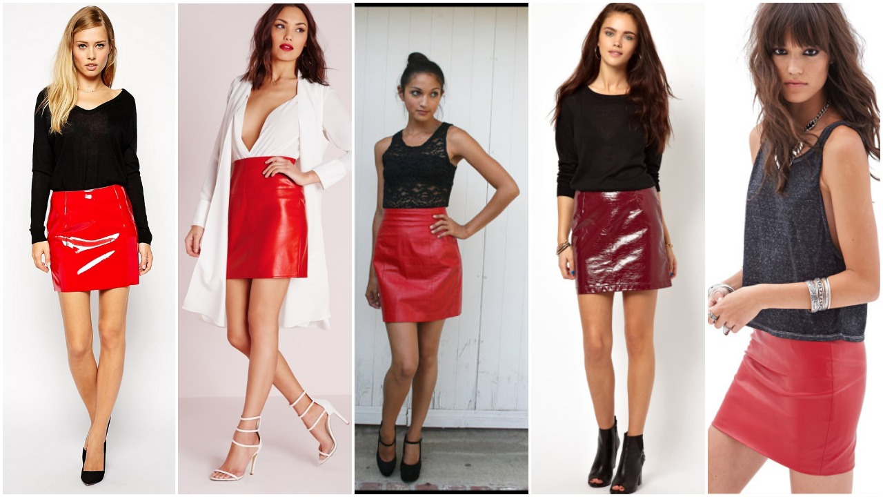 Red Leather Skirts with Different Tops