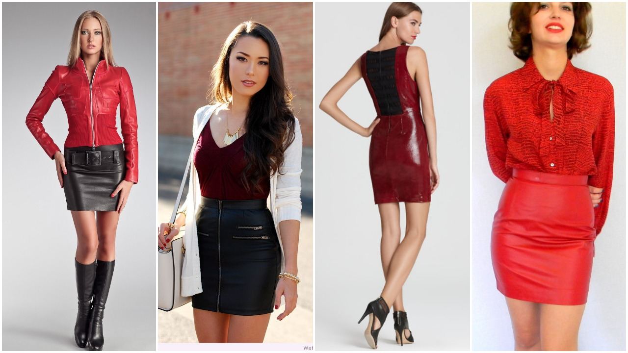 Red Tops for Leather Skirts