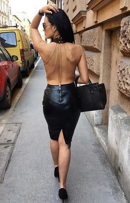Sexy Street Fashion Naked Back Dress with Short Leather Skirt